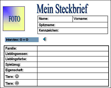 Schüler vorlage steckbrief Steckbrief Vorlage